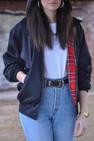 jacket grunge plaid tartan black 90s style denim high waisted jeans urban