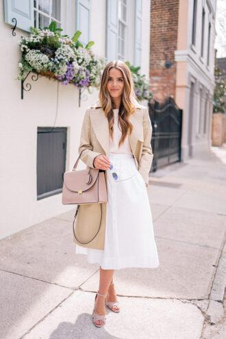 gal meets glam blogger bag midi skirt white skirt beige coat nude bag sandals winter outfits