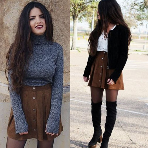 ZARA faux suede leather mini skirt brown camel bloggers perforated ...