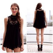 romper,lace,crochet,black,cute,shopfashionavenue