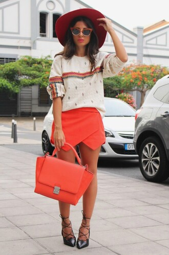 style by nelli blogger skirt shorts hat shoes coral orange skorts style fashion outfit