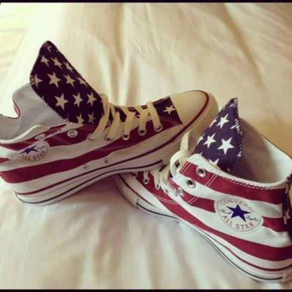 red white and blue american flag shoes converse all stars high top sneaker sneakers