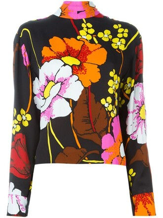 top floral print black