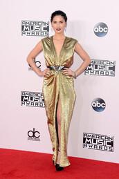 American Music Awards,dress,gold,metallic,prom dress,gown,olivia munn