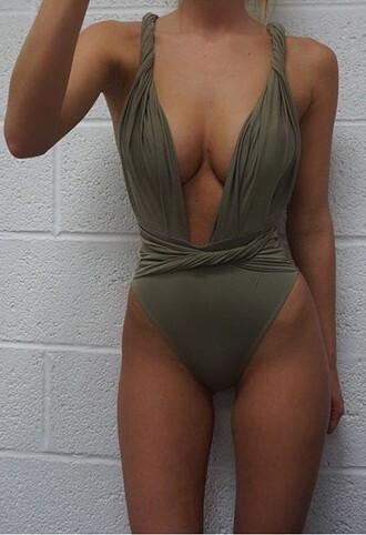 romper swimwear one piece jumpsuit top mesh lace tie wrap khaki
