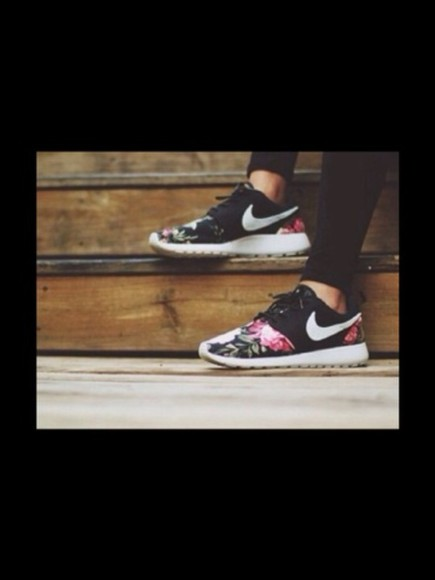 shoes nike black nike roshe run roses flowers