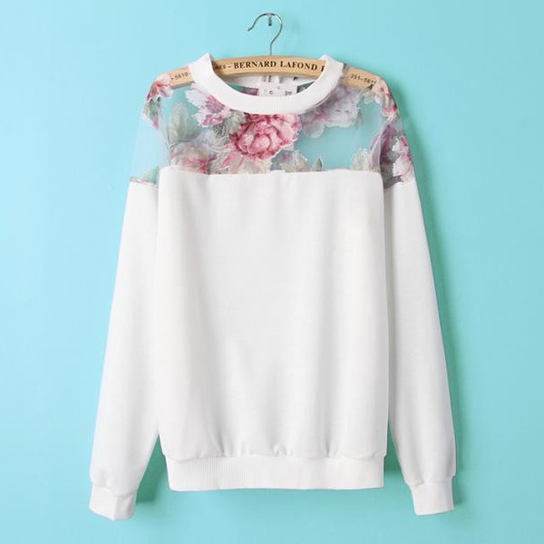 top sweatshirt long sleeves top floral top organza white top white sweater hoodie sweater fall outfits floral sweatshirt
