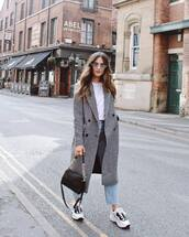 coat,checkered,wool coat,jeans,cropped jeans,sneakers,white blouse,handbag,sunglasses