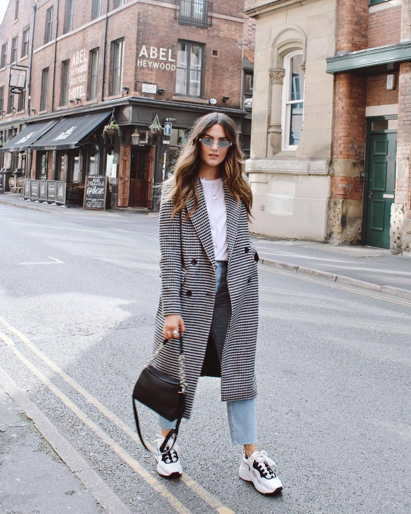0ff012ee78d7 coat checkered wool coat jeans cropped jeans sneakers white blouse handbag  sunglasses.