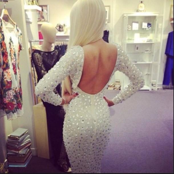 dress white dress long sleeves