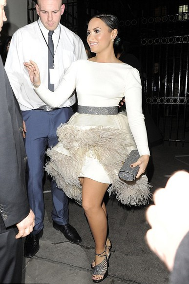 feathers dress jacket demi lovato white dress