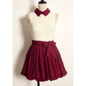 dress,collared dress,collar,bow,red,white,burgendy,daydress,day,cute,vintage,collardress,high waisted dress,floral,short dress,lace dress,day dress,burgundy,burgundy dress,colar neck,hipster,indie,girly,skirt,burgundy skirt,cute dress,tea dress,kfashion,ulzzang,wine dress,white lace dress,now,bow dress,red dress,maroon/burgundy,white dress