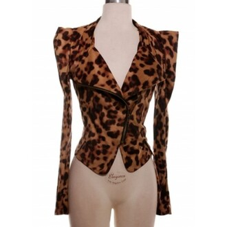 jacket blazer puffer sleeve leopard print sexy moto jacket