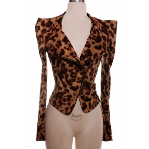 jacket blazer puffer sleeve leopard print sexy biker jacket