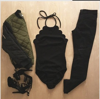 jacket looking for the whole outfit idea black bodysuit