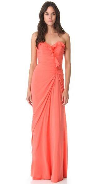 gown strapless ruffle coral dress