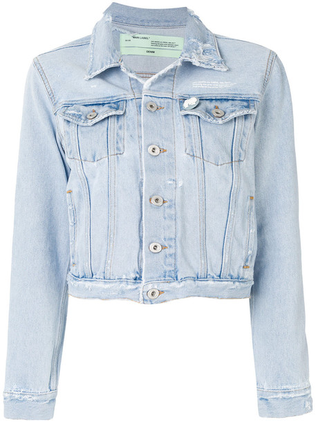 Off-White jacket denim jacket denim cropped women cotton blue