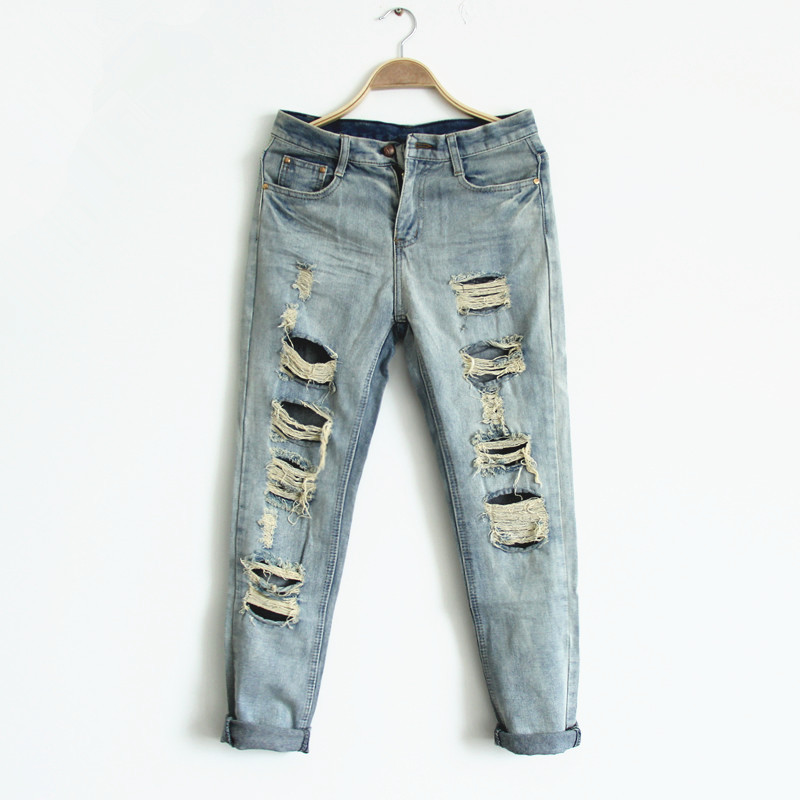 2014 new boyfriend denim jeans for women Fashion hole bf harem pants Ripped jeans Free shipping on Aliexpress.com
