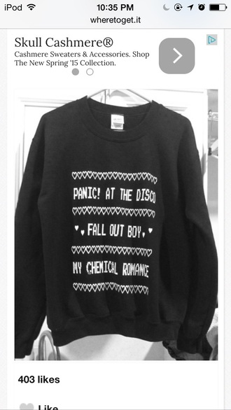 sweater fall out boy black my chemical romance panic! at the disco