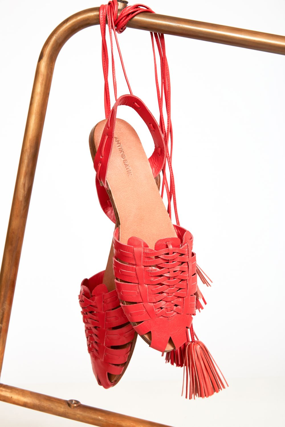 Mina Red Braided Sandals