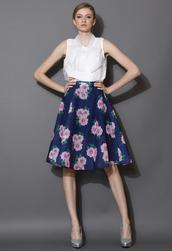 skirt,floral,print,plaid,midi skirt,navy