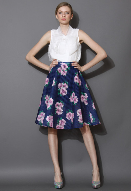 Skirt: floral, print, plaid, midi skirt, navy - Wheretoget