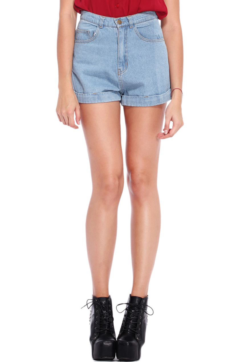 ROMWE | Rolled Cuffs Light-blue Denim Shorts, The Latest Street Fashion
