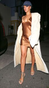 dress,slip dress,brown dress,sandals,coat,white coat,baseball cap,celebrity style,celebrity,silver shoes,sandal heels