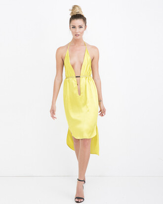 dress chartreuse dress satin satin dress sundress chartreuse