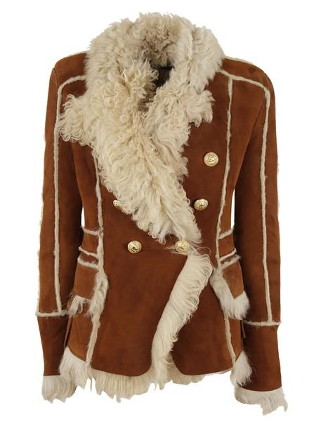Balmain jacket shearling jacket double breasted