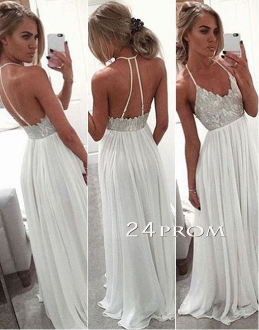 A-line Backless Long Prom Dresses, Formal Dress - 24prom