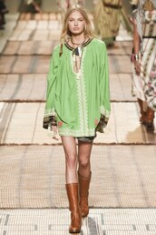 dress,tunic dress,blouse,boots,romee strijd,milan fashion week 2016,etro