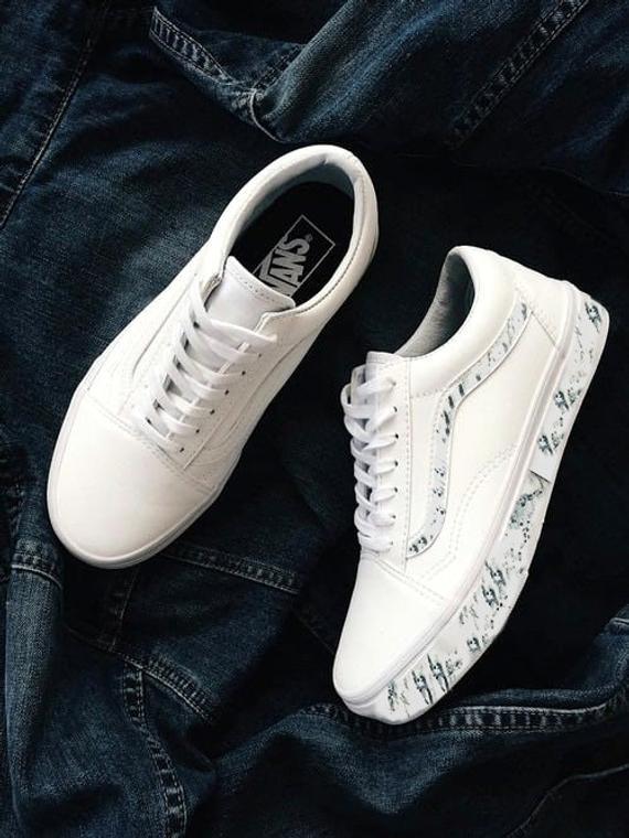 Custom Vans Old Skool Marble Oreo Specked Sneakers