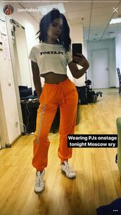 pants,sweatpants,orange,instagram,halsey,crop tops,top