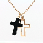 jewels,cross,black,gold,chain,necklace