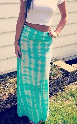 skirt maxi blue billabong wgite white tie dye acid wash teal s'cute maxi skirt