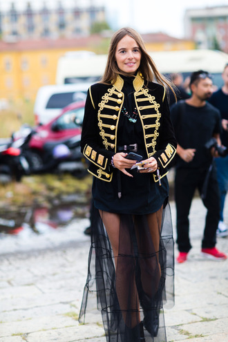 jacket fashion week street style fashion week 2016 fashion week milan fashion week 2016 military style black jacket dress maxi dress tulle dress belt top black top streetwear streetstyle