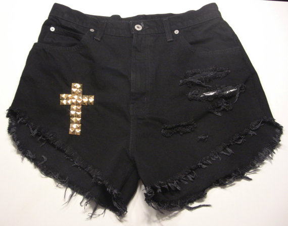 All sizes emboss the cross high waisted shorts by burdazi on etsy