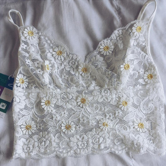 top lace top daisy lace crop tops romantic girly trendy sexy white summer spring