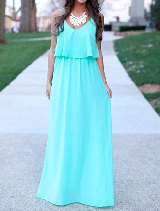 dress blue baby blue pretty cute beach maxi dress