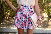 skirt,floral,clutch,forever 21,jewels,blouse,bag