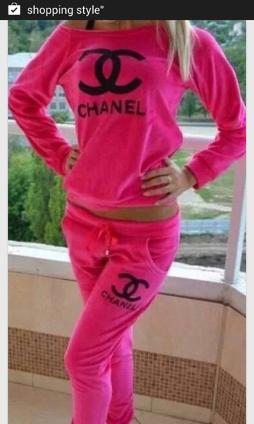 Sweater pink chanel joggers wheretoget