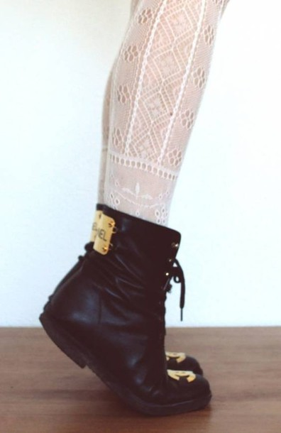 shoes chanel gold leather booties
