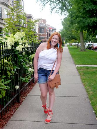 kristinadoestheinternets blogger top shorts shoes bag jewels shoulder bag one shoulder summer outfits denim shorts