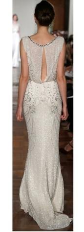 white dress,open back prom dress,open back,elegant dress,silver,silver dress,jewls,beautiful,wedding dress,weddings,bride,bride dress