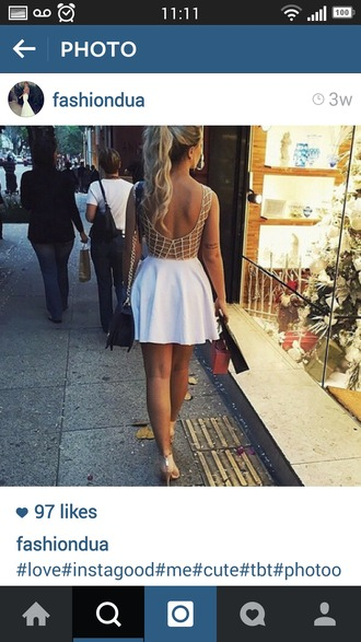 dress white beaded dress backless dress summer dress