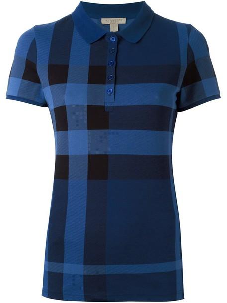 Burberry shirt polo shirt women spandex cotton blue top