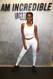leggings,model,white,white top,jasmine tookes,victoria's secret,victoria's secret model