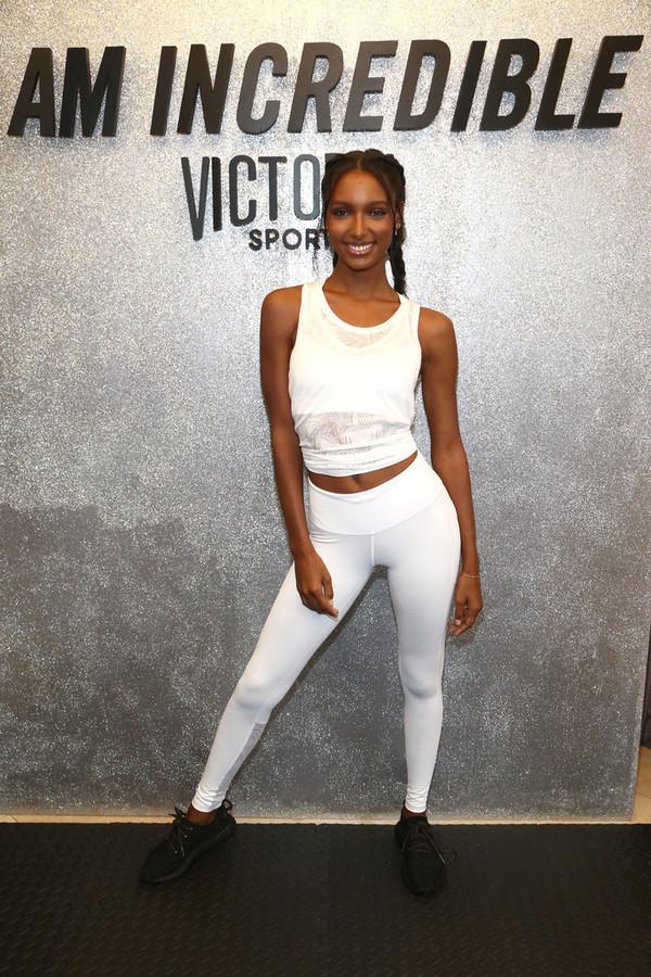 leggings model white white top jasmine tookes victoria's secret victoria's secret model