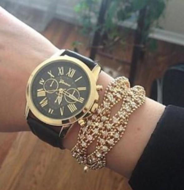 jewels watch black watch gold watch geneva